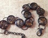 Dark Antiqued Silver Clockwork Clutter Bracelet