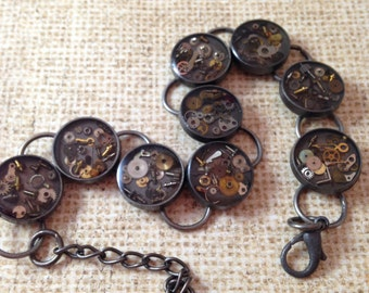 Dark Antiqued Silver Clockwork Clutter Bracelet