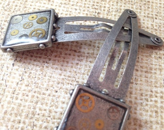 Large Antiqued Silver Barrettes with Watch Gears