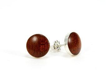 Stud Earrings - Wood Post Earrings – Bloodwood Silver Stud Earrings – 10mm, 8mm - Mother's Day,  Anniversary, Bridesmaid, Fathers Day Gift