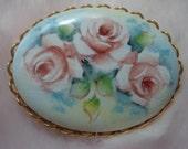 Vintage Hand Painted Porcelain Floral Brooch / Lovely Porcelain Brooch with Hand Painted Roses / Handpainted Floral Pin Brooch