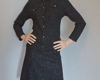 SALE Vintage 50s 60s Metallic Knit Skirt Suit / 1960s Black Silver Lurex Skirt and Jacket / Sparkly Pin Up VLV Cocktail Party Dress Suit
