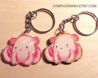 wood or acrylic Dumbo octopus key chain