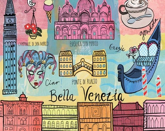 Venice Travel illustration, modern, whimsical, print, Travel Map wall art wall Print icons home decor