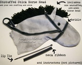 Unstuffed Stick Horse Head, Traditional & Fun Colors, MADE to ORDER, Choose color