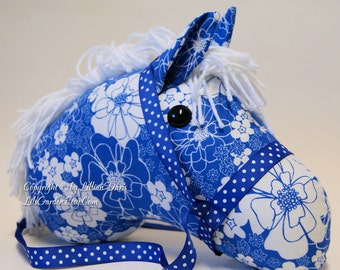 Stick Horse Head, Royal Blue & White Flowers, MADE to ORDER, With or Without Stick