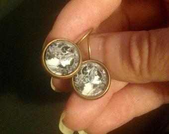 Art Deco Lady Antiqued Bronze  Earrings