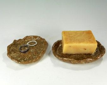 Pottery soap dish and trinket dish, ceramic soap dish, stoneware trinket dish, hand built pottery soap dish with black walnut set of 2