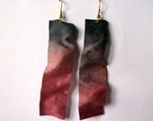 Earrings, dangle, handmade, textile, fiber, silk, handdyed, ombre, long, spring accessories