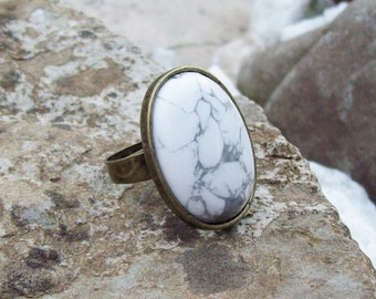 White Howlite Large Cabochon Stone Ring - Adjustable Band