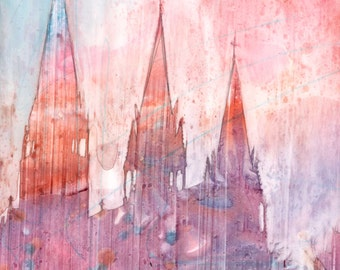Gothic Cathedral Watercolor - Signed Fine Art Giclee Print