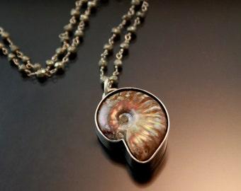 Unique Handmade Silver Jewelry, BOHO,Bohemian,Ammonite Pendant Pyrite, Long Necklace