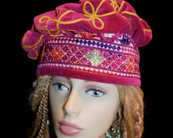 Hat Ruby Red Antique Embroidered Velvet Vintage Afghan Vintage  Matyo Embroideries Beret Slouchy Cap Unisex Tam Gypsy World Peace Hat