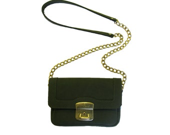 Forest green leather Bag, Big Lock, dark green, handmade,  shoulder bag, Ladies bag, Purse
