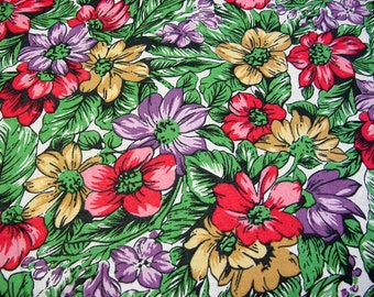Vintage 70s Bright Mod Floral Daisy Cotton Fabric -Red Purple, Pink Yellow Mustard Green  Print -Silky Smooth Quilt Clothing Home Decor BTY