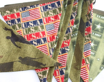 US Army Decor - Army Bunting - Army Party Banner - Soldier Flags