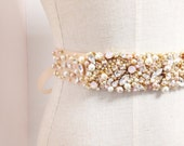 Blush and Gold Crystal Bridal Belt- Custom- Swarovski Crystal Bridal Sash- One-of-a-Kind Hand-Beaded -Vintage Glamour
