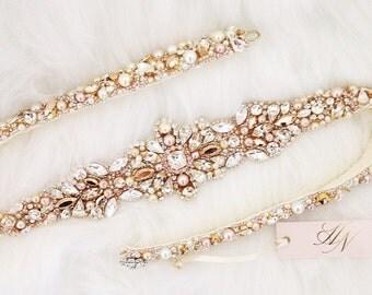 Rose Gold and Blush Crystal Bridal Belt- SWAROVSKI- Gold Bridal Sash- Rose Gold Bridal Sash- Crystal Bridal Sash