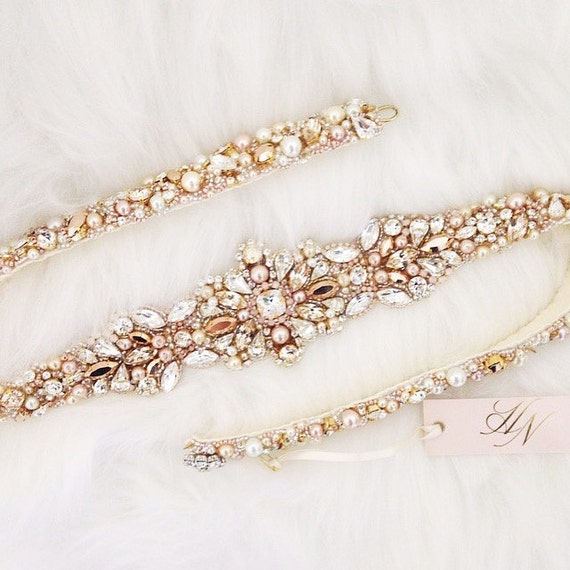 Items Similar To Rose Gold And Blush Crystal Bridal Belt