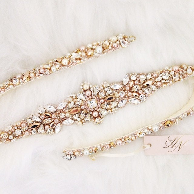 Rose Gold And Blush Crystal Bridal Belt Swarovski Gold
