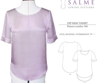 PDF Sewing pattern - Dip hem t-shirt