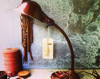 Gooseneck Lamp / Industrial Lighting / Shell Motif / Desk Lamp / Cloth Wire and Vintage style Plug