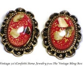 50's Red Confetti Cabochon Clip Earrings with Confetti Stone Bezel Set in Antique Gold Scalloped Motif - Vintage 1950's Plastic Jewelry