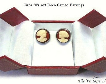 Art Deco Screw-back Cameo Earrings in Celluloid & Catalin Bezel Set Carved Portrait Motif - Vintage 20's Early Plastic Costume Jewelry