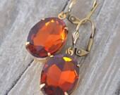 Vintage Amber Rhinestone Drop Earrings