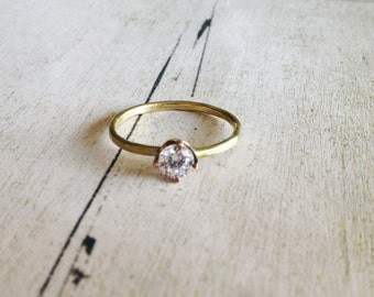 Gold brass solitaire ring, gold brass hammered ring, gold stacking ring, prong setting ring, gift for her