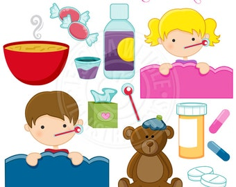 Sick Day Cute Digital Clipart - Commercial Use OK - Medicine Clipart, Feel Better Soon Graphics, Flu Season