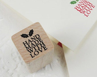 Holly Hand Made With Love Stamp (0.75 x 0.75in)