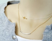 Sideways Cross Necklace Bar Necklace Long Layers Tiny Delicate Gold Filled Sterling Silver Trending