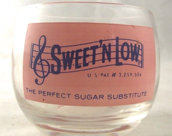 Sweet 'N Low Holder, Vintage Small Glass Cup with Pink Logo (A1)