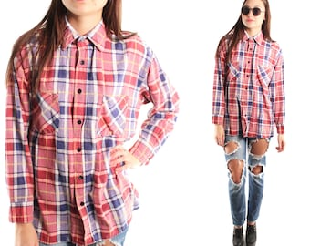 BIG RED 90s Classic Soft Cotton Red Blue White Plaid Flannel Grunge Slouchy Button Up Collared Punk Rocker Outdoors Long Sleeve Blouse Small