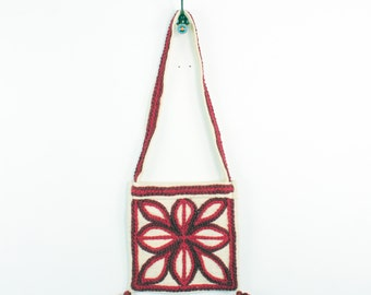 DHALIA 70s Retro Bright Maroon Burgundy Flower Knit Crocheted Boho Earthy Square Canvas Gypsy Indie Tote Messenger Bag Purse Handbag OS