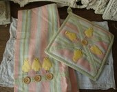 Vintage Kitchen towel and pot holder set for spring pink and yellow baby chickens vintage kitchen linens set Shabby Chic Pink decor