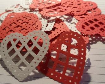 PAPER Love HEARTS Die Cut Scalloped Lattice Lacy Martha Steward Wedding/Scrapbooking 60 Hearts