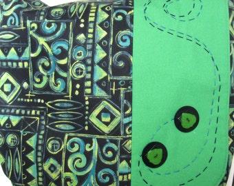 Bight green and navy handmade travel handbag