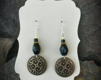 Black Gold Button Sterling Silver Earrings, Gold Button Earrings, Black Button Sterling Silver Earrings
