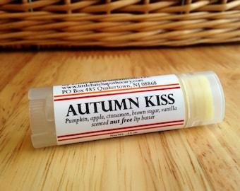 Autumn Kiss Lip Balm, lip butter, nut free lip balm, fall lip balm, apple, cinnamon, vanilla, pumpkin, brown sugar, autumn