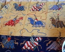 "Jane Churchill ""Tournament"" fabric Knights Jousting Horses Steeds"