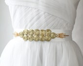 Gold Circles Sash, Art Deco, Gold Sash