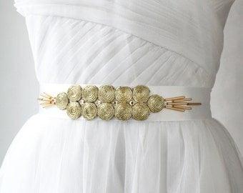 White Gold Sash, Bridal Sash, Art Deco Sash, Wedding Sash