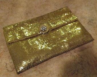 Vintage WHITING & DAVIS Gold Metal Mesh Clutch Purse