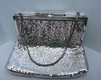 Vintage OROTON Silver Metal Mesh Evening Bag Purse