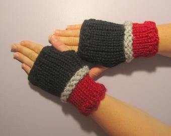 Fingerless Gloves - Black, Red, Grey Hand Knit Fingerless Gloves