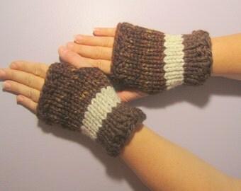 Fingerless Gloves - Brown and Off White Hand Knit Fingerless Gloves
