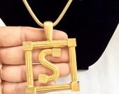 Mimi Di N monogram letter S necklace big statement vintage necklace designer piece