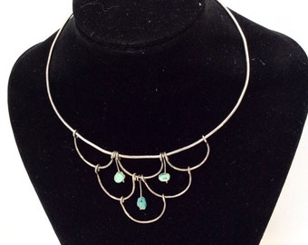 Sterling silver handmade Collar necklace with turquoise stones vintage jewelry